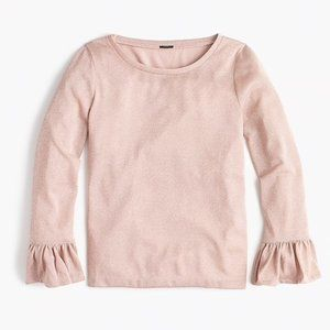 J. CREW Rose Gold Sparkle Bell Sleeve Top S